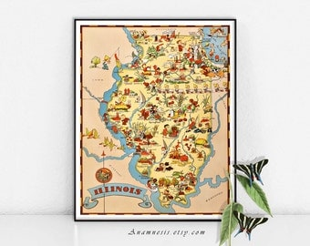 ILLINOIS MAP - High Res Digital Image - Illinois picture map to frame - totes, pillows, prints - very charming vintage map art - home decor