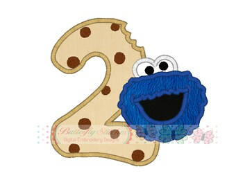 Monster Number Two Birthday Machine Embroidery Digital Applique Design