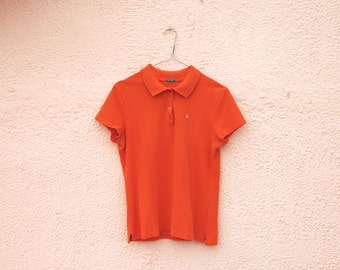 Vintage 90s Benetton Polo / Orange T-shirt/ - Old school - Clueless - Lolita - Kawaii- Clubkid