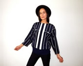 nautical blouse vintage 80s navy and white striped shirt navy hipster top batwing dressy blouse vertical stripes sailor 1980s office wear