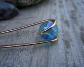 Light Blue AB Hair Fork in Bronze - Your choice of Length - Hair Pin - Haar Gabel - Long Hair Accessory - Metal Hair Fork
