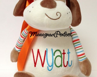 Wyatt - Already Personalized Stuffed Striped Puppy Dog