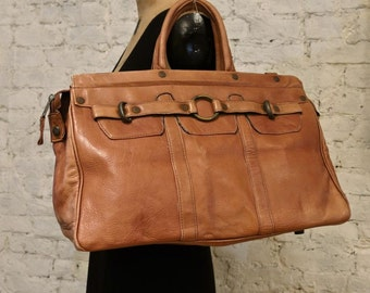 70s Leather Satchel Bag - Huge Size - Colombian Leather