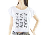 Horses shirt women shirt cropped tee crop tops