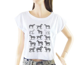 Horses shirt women shirt cropped tee crop tops