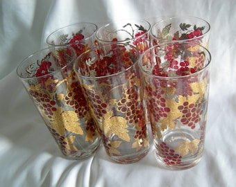 Grapes and Gold Motif Tumblers | Vintage