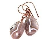 Natural Agate Earring Rose Gold Earring Agate Slice Earring Agua Nueva Agate Earring Boho Earring Bohemian Jewelry Rose Gold Vermeil Jewelry