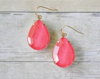 Neon Hot Pink Teardrop Earrings, Hot Pink Statement Earrings, Rhinestone Earrings