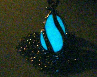 Tiny Glowing Teardrop Necklace Caged Glow In The Dark Pendant Jewelry Silver And White (glows  aqua blue)
