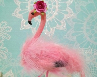 choose your head flower  One chic fluffy pink flamingo birthday cake topper or shower cake topper