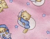 Cats Pajamas Sleeping Kittens on Pillows, Stars Moons ~ Retired Cat Fabric Pink FQ
