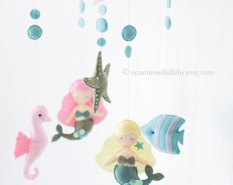 Mermaid Fish Seahorse Baby Mobile, Pink Blonde Mermaid, Ocean Nursery Decor, Sea Animals Mobile, Baby Girl Mobile, Baby Girl Nursery