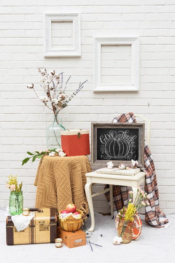 Give Thanks Pumpkin - Thanksgiving Decor - Fall Pumpkin Decor - Thanksgiving Art - Hand Lettering by Valerie McKeehan