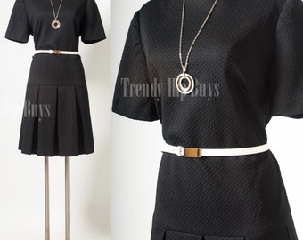 Mod Dress, Vintage Black dress, Mad Men dress, pleated dress, plus size - XL/1XL