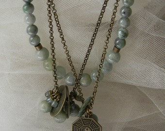 Double strand brass chains necklace w aquamarine & jade beads , Yin Yang coins , I Ching , beaded necklace , layering necklace , lagenlook