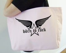 Born to rock tote bag - rockstar themed gift - polyester tote bag - star and wings tote bag - original design rockstar bag