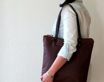 Waxed Canvas Bag Zip Tote Bag Canvas Leather handles, Brown, Large Carryall Many Pockets, Canvas Tote, Purse Handbag