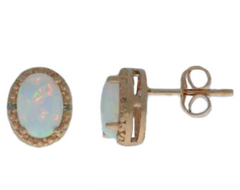 14Kt Rose Gold Genuine Opal & Diamond Oval Stud Earrings