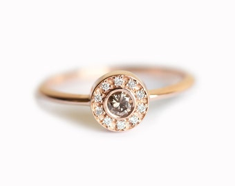 Halo Diamond Wedding Ring, Rose Gold Halo Diamond Ring, Champagne Diamond Ring, Round Diamond Ring, Classic Diamond Ring, Simple Halo Ring