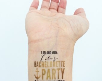15 Custom Bachelorette Party Temporary Tattoos- Glam Gold ANCHOR