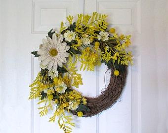 Spring Door Wreath with Large Burlap Sunflower, Grapevine Door Wreath, Home Decor, Spring Door Hanger