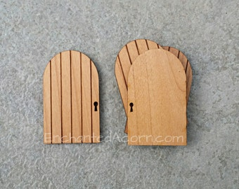 "DIY Pixie Fairy Doors - Small Fairy Garden Doors Natural Wood Miniture Doors to Decorate Yourself Fairy Garden Accessories 2.5"" x 1.5"""