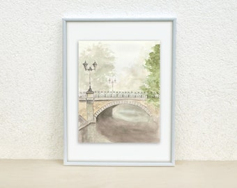 Bridge Watercolor painting. Light painting. Urban sketch. Original watercolor. Old town. Bridge. Riga 8x10