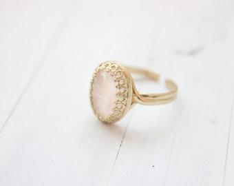 Filigree Rose Quartz Brass Ring