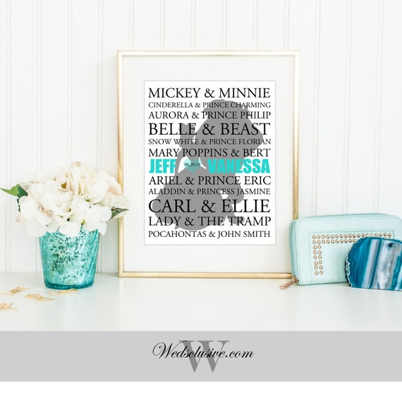 Personalized Disney Couple Name Print, Typography Wedding Gift, Unique ...