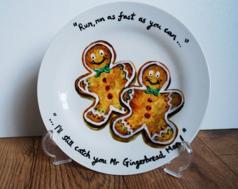 Beautiful Festive Christmas Hand Painted Gingerbread men side plate!