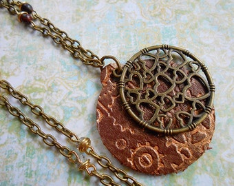 Clockwork Heart Leather Steampunk Necklace
