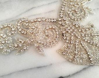 GORGEOUS, Art Deco Style, Crystal Rhinstone Collar Applique