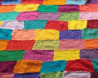 Handspun Knitted Patchwork Blanket