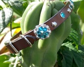 Leather Concho Collar, Pet CoLLar, Leather Pet Collar, Cat CoLLAR, DoG COllar, Swarovski Crystal