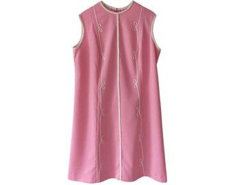 Powder Pink 60s Vintage Shift Dress Size L A R G E