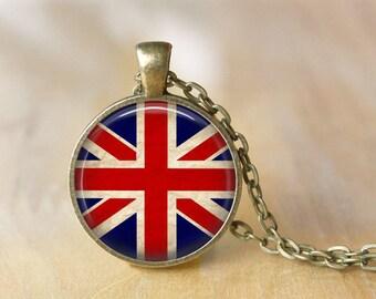 Union Jack -  British Flag - Art Pendant - Union Jack Jewelry - Pendant Necklace