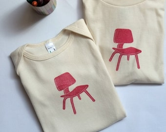 Block Printed Mid Century Modern Organic Unbleached Cotton T-Shirt/Onesie - Eames Chair