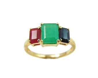 Emerald Sapphire Ruby 14k Gold Ring 2.77 ctw Gemstones