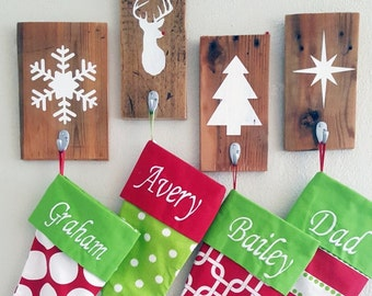 Rustic Wood Stocking Holder - Christmas Stocking Holder - Stocking Holders - Individual Stocking Holder - Reindeer - Snowflake - Tree - Star