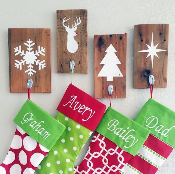 Rustic Christmas Stocking Holder Christmas Wall By