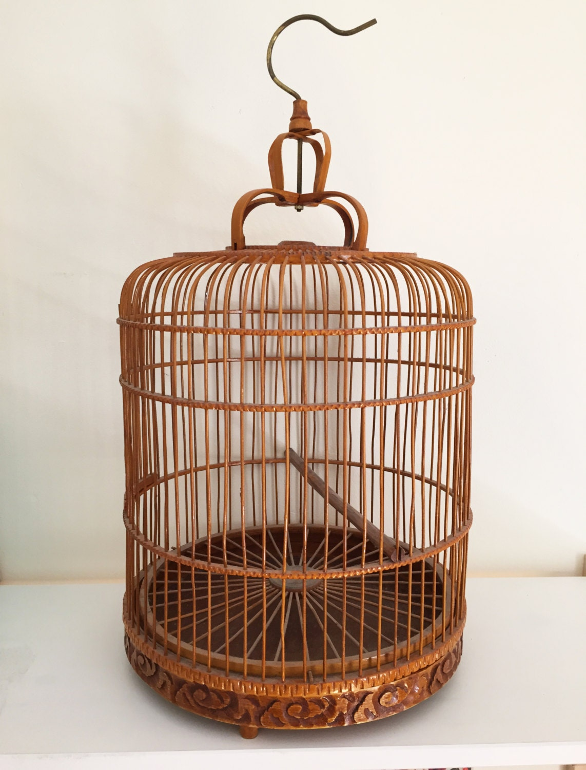 large vintage wooden decorative bird cage with removable base. Black Bedroom Furniture Sets. Home Design Ideas