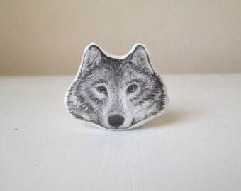 Wolf brooch pin fantasy wolf spirit animal wolves woodland jewelry hand painted totem creature gift idea vegan vegetarian