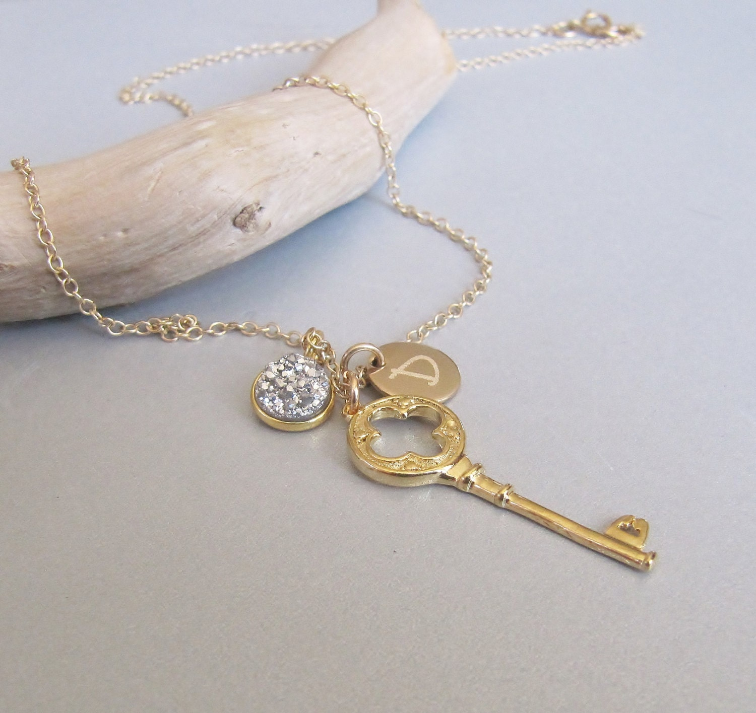 gold key and druzy personalized necklace key charm necklace. Black Bedroom Furniture Sets. Home Design Ideas