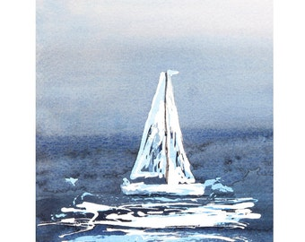 Downloadable Art, Instant Digital Download, Abstract Seascape Watercolour, Boats Painting, Sailboats, Printable Art, Blue Artwork, Wall Art