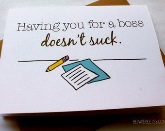 Boss Card - Supervisor Thank You Card - Funny Appreciation Card - Work Card - Boss Day