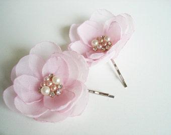 Blush Pink Flower Girl Hair Clips, Blush Wedding Flower Hair Pins, Light Pink Hairpiece, Bobby Pin, Wedding Headpieces Pink Hair Piece