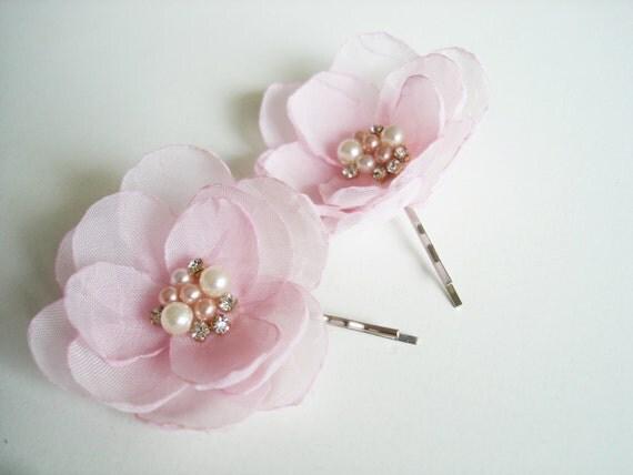 Blush Pink Hair Flower Or Brooch Bridal Wedding: Blush Pink Flower Girl Hair Clips Blush Wedding Flower Hair