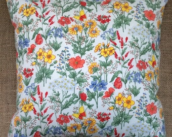 Vintage French Floral Fabric Cushion 40cm x 40cm Complete With Interior