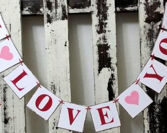 Wedding Banner Valentine Banner Garland I Love You Shabby Chic Red And Pink Banner Valentine Garland  Romantic Banner Wedding Prop Garland