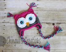 Crochet Owl Hat, Baby Hot Pink Gray Owl Beanie Girls Owl Hot Pink Gray Turquoise Owl Hat